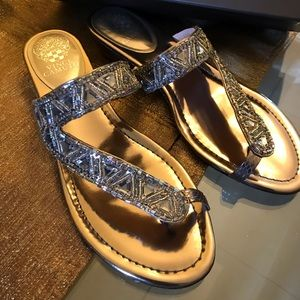 Vince Camuto silver wedge sandals